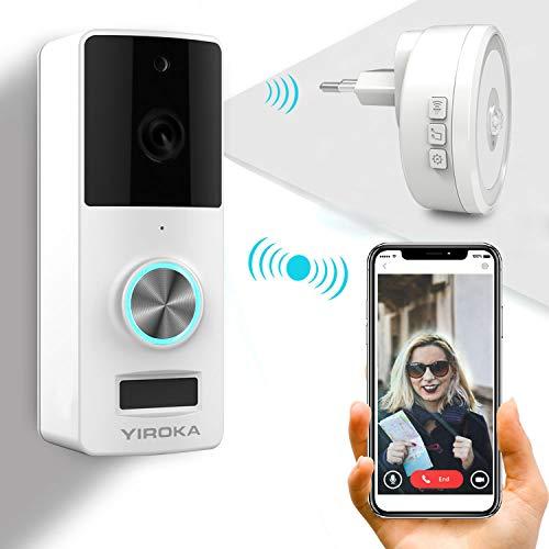 Video TüRklingel Mit Kamera, YIROKA Video Doorbell Wifi Funk Gegensprechfunktion Bewegungsmelder Mit Monitor IP55 Wasserdichte 720P HD Weiß