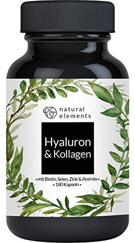 Hyaluronsäure Kollagen Komplex - Einführungspreis - 180 Kapseln - Angereichert mit Biotin, Selen, Zink, Vitamin C aus Acerola & Bambusextrakt -...