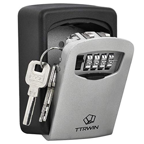 TTRWIN Sichere Schlüsselbox Schlüsselsafe Schlüsseltresor, mit 4-stelligem Hochcodeschloss Große Schlüsselbox, Zinklegierung wasserdicht und...