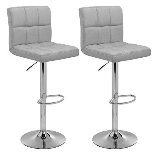 SONGMICS Barhocker 2er Set, höhenverstellbare Barstühle, Barstuhl mit Leinen-Bezug, 360° Drehstuhl, Küchenstühle mit Rückenlehne und...