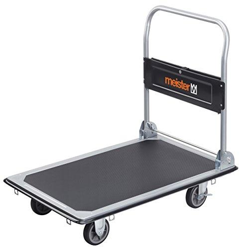 Meister Plattformwagen - Klappbar - Bis 300 kg Tragkraft - Feststellbremse / Transporthilfe mit Lenkrollen / Paketwagen mit Antirutsch-Beschichtung /...