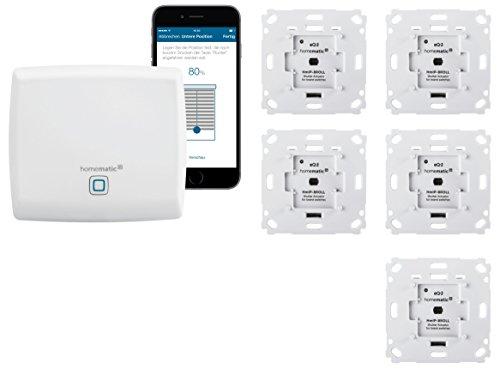 Homematic IP Rolladensteuerung für 5 Rolladen. Smart Home Set inkl. App zur Automatisierung der Rollläden. Ideal zur Nachrüstung. Alexa kompatibel....