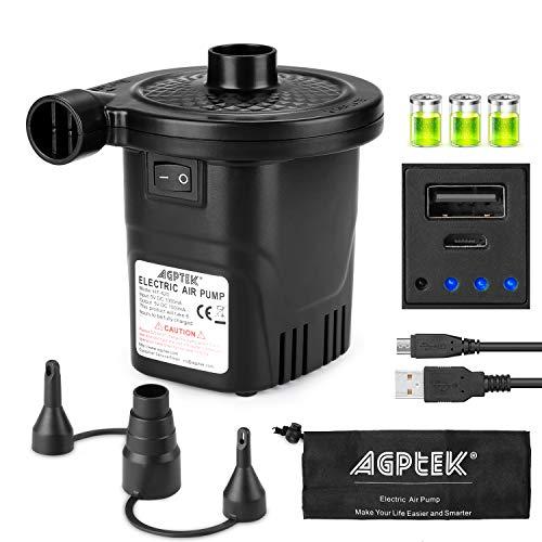 Elektrische Luftpumpe mit Akku, AGPtEK Elektropumpe mit Quickfill Aufblasen und...