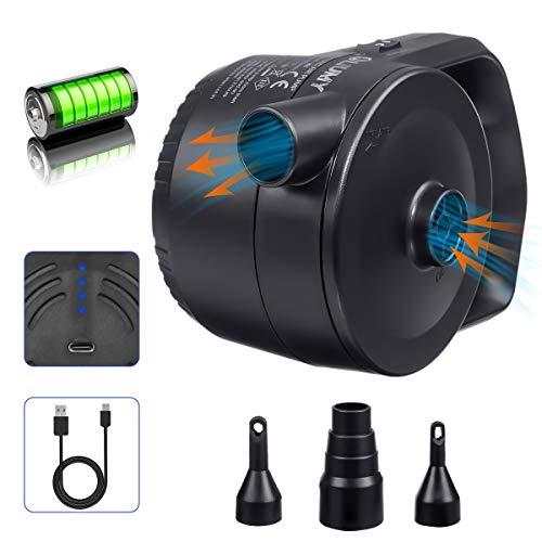 LIUMY 2-1 AKKU-Luftpumpe mit USB-Ladekabel, Elektrische Luftpumpe für...