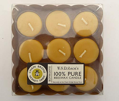 Chain Bridge WSRobsons 100% Pure Beeswax Candle Pk 9 Tealights