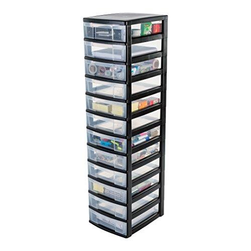 IRIS, Schubladenschrank / Schubladenbox / Rollwagen / Rollcontainer / Werkzeugschrank 'New Chest', NMC-012, mit Rollen, Kunststoff, schwarz /...
