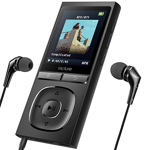 Victure MP3 Player 100 Stunden Standby-Zeit Portable Verlustfreien Klang Musik Player 8GB-Speicher Erweiterbar auf bis zu 128 GB mit Kopfhörer...