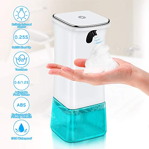 VEEAPE Seifenspender Automatisch, Schäumende Seifenspender mit Sensor Infrarot, Berührungslos Schaumseifenspender mit 2 Einstellbare Schaummenge...