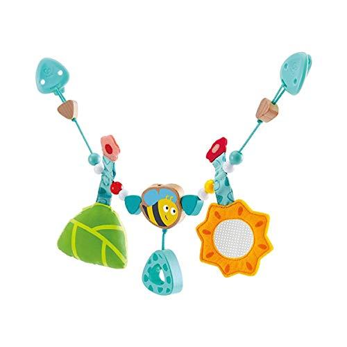 Kinderwagen-Spielzeug mit farbenfrohen Tierfiguren Quietsche /& Spiegel rosa solini Kinderwagenkette Journey aus Stoff Rassel