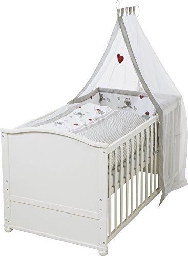 roba Komplettbett Set 'Adam & Eule', Babybett weiß inkl. Bettwäsche, Himmel, Nest, Matratze, Kombi Kinderbett 70x140cm umbaubar zum Junior Bett