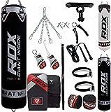 RDX Punching Bag Filled Set Kick Boxing MMA Heavy Training Gloves Punching Gloves Hanging Chain ...