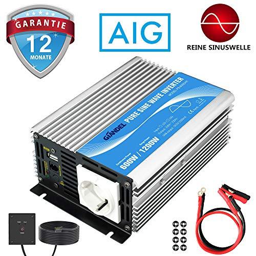 GIANDEL Wechselrichter 600W Reiner Sinus Spannungswandler 12V auf 230V mit Fernbedienung und USB-Anschluss für Laptop, Kamera, Smartphone