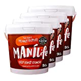 ManiLife Erdnussbutter 4kg - Peanut Butter - Alles Natürlich, ein Anbaugebiet, ohne Zuckerzusatz, ohne Palmöl – Deep Roast Crunchy – (4 x 1kg)