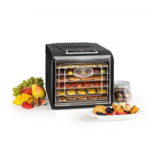 Klarstein Fruit Jerky Plus 6 - Dörrautomat, Dörrgerät, Obst-, Fleisch- und Früchte-Trockner, Antihaftbeschichtung, einstellbare Temperatur,...