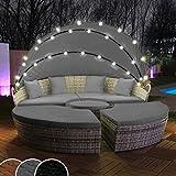 Swing & Harmonie Polyrattan sun island with LED lighting + solar module including cover rattan lounge sunbed lounger island with rain cover ...