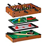 Relaxdays multigame table 4 in 1, table football, tennis, hockey & billiards, children & adults, multi game table, brown