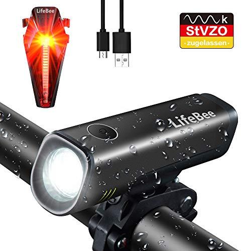 LED Fahrradlicht Set, LIFEBEE StVZO Zugelassen USB Fahrradbeleuchtung Wiederaufladbare Fahrradlampe Wasserdicht Fahrradlichter Fahrrad Vorne Licht...