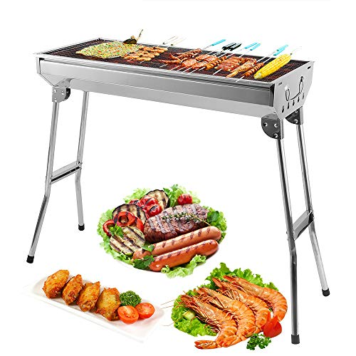 Uten Camping Grill Picknickgrill BBQ Grill Tragbarer Rost Klappgrill Holzkohlegrill Edelstahl Barbecue Holzkohle Grill für BBQ Party Garten Camping...