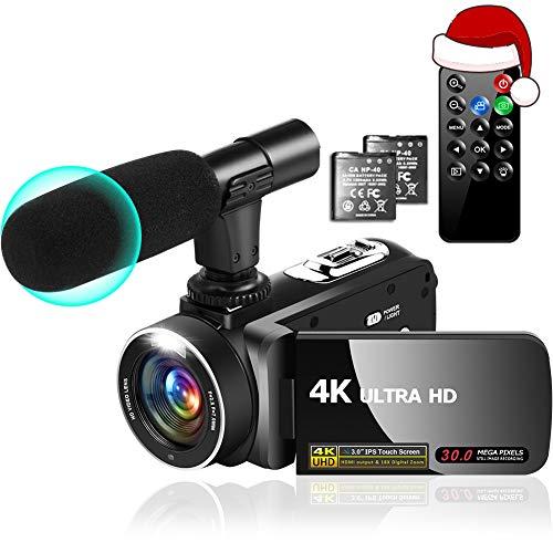 Camcorder 4K Videokamera 30MP 18X Camcorder mit LED Fülllicht, 3.0'IPS...