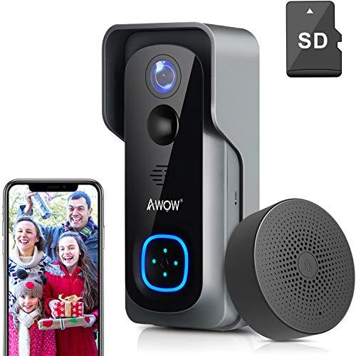 Video Türklingel mit Kamera, AWOW 1080P HD Video Doorbell mit 16GB Speicherkarte, Gegensprechfunktion, IP65 Wasserdicht, Bewegungsmelder, WLAN...