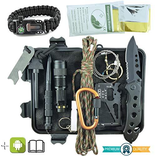 Professionelles Militär Survival Kit Komplett Dritte Generation Notfall Berg Trekking Wandern Outdoor 11in1 Taschenlampe Armband Paracord Handlich...