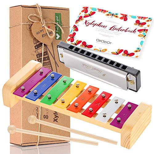 Holz Xylophon für Kinder - mit Mundharmonika und Lieder Buch: Perfekt Glockenspiel f. Kleine Musiker - Erzeugt Magische Klänge mit Kleinen Händen;...
