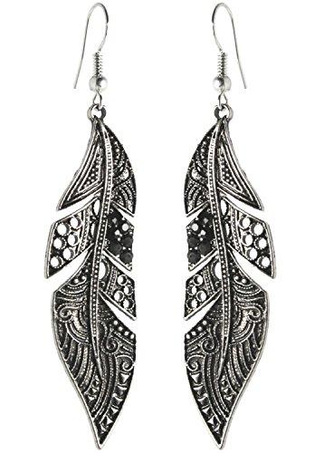 2LIVE для длинных серег перо черные серьги серебряные подвесные серьги длинные с камнями античный стиль серьги-капли Ethno Old Silver Black