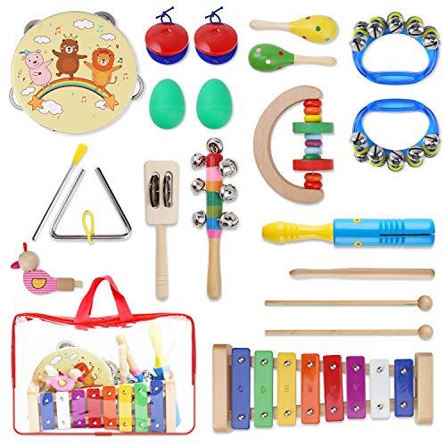 YISSVIC 13PCS Musikinstrumente Musical Instruments Set Spielzeug von Holz Percussion Schlagzeug Schlagwerk Rhythmus Band Werkzeuge für Kinder und...