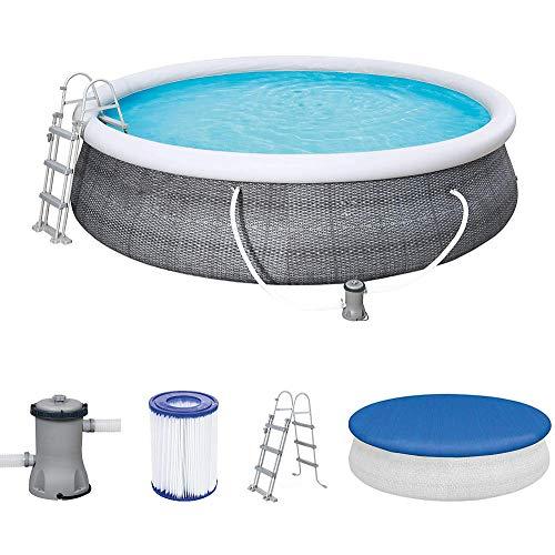Vintac Fast Set Pool 457x457x107 cm, Gartenpool selbstaufbauend mit aufblasbarem Luftring rund im Komplett Set, mit Filterpumpe, Sicherheitsleiter und...