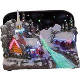 insatech Beleuchtetes verschneites Weihnachtsdorf mit Kapelle, Farbwechsel...