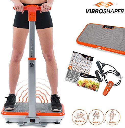 Mediashop VibroShaper mit Griff, Vibrationsplatte, Ganzkörper Trainingsgerät mit 3 Stufen, 99 Geschwindigkeiten, Fernbedienung, Trainingsbänder,...