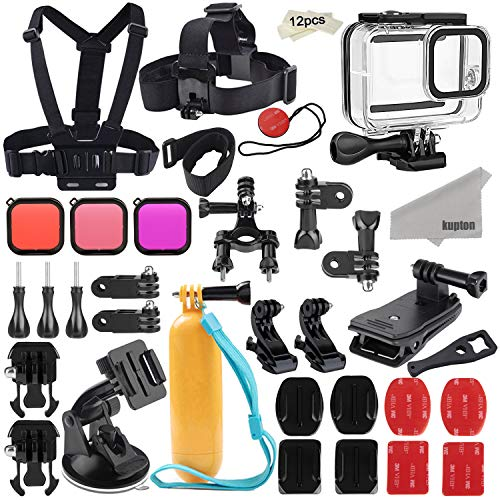 Kupton Zubehörset für GoPro Hero 8 Aktion Kamera-Zubehörpaket, Wasserdichtes Gehäuse + Filter + Kopfbrustgurt + Saugnapfhalterung +...