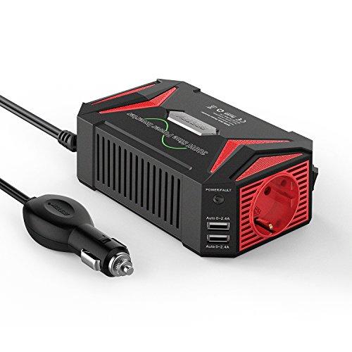 NOVOPAL Inversor De Corriente Onda Sinusoidal Pura 2000W 4000W Transformador De 24v A 230v,Inversor con 2 Toma EU Enchufe Y 2 Puertos USB,Y Pantalla LED