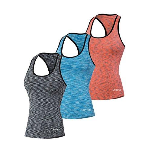 QUTOOL Sporttop Damen Sportshirt für Damen Yoga Top Funktionstop Damen Sportshirt Frauen Sport Top Sportshirt Damen Damen Top Tank Top Damen...