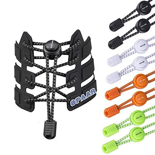 Anoak Elastische Schnürsenkel 8 paars Schnellschnürsystem Reflektierende Schnürsenke 4 farben für Kinder und Erwachsen,für Laufen, Workout,...