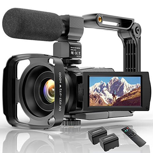 Videokamera 4K WiFi Full Hd Video Camcorder mit Mikrofon YouTube Vlogging...