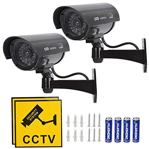 TIMESETL 2 Stück Attrappe Kamera CCTV Dummy Überwachungskamera mit Rot...