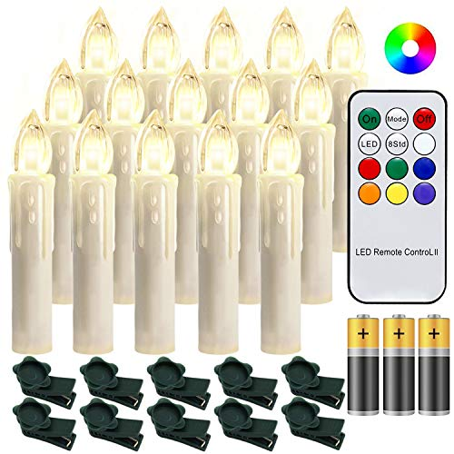 Hengda 30 Stück LED Weihnachtskerzen mit Fernbedienung RGB Kerzen Lichterkette...