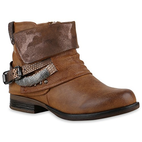 Damen Biker Boots Nieten Schnallen Stiefeletten Gr. 36-42 Schuhe 128618 Hellbraun 36 Flandell