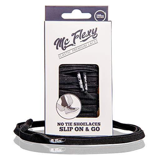 Mc Flexy Flache Elastische Schnürsenkel – Einmal Binden und Jeder Schuh wird zum Slipper (Schwarz, 120cm)