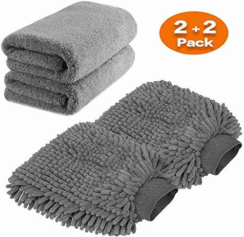 TAGVO Große Auto-Waschhandschuh und Mikrofaser-Reinigungstüch - Deluxe Koralle Chenille-Handschuh-Poliertücher Perfekt für Küche - Autowäsche &...