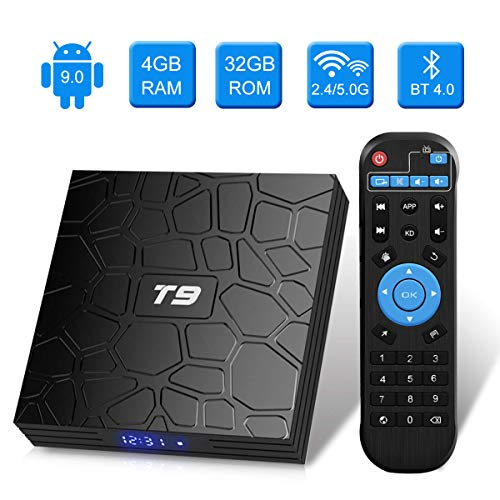 T9 Android TV-Box, Android 9.0, 4 GB RAM / 32 GB ROM, RK3318, Quad-Core, unterstützt 2,4 / 5 GHz WLAN, Bluetooth 4.0, 4K, 3D, HDMI, DLNA,...