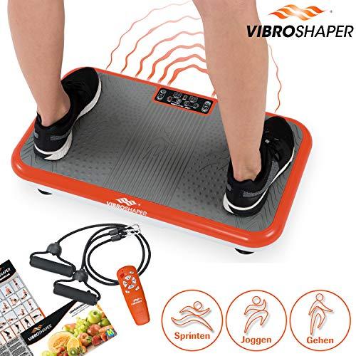 Mediashop VibroShaper, Vibrationsplatte, Ganzkörper Training | 3 Stufen, 99 Geschwindigkeiten, Fernbedienung, Trainingsbänder, Ernährungsplan,...