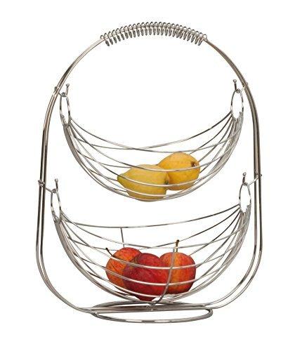 Lifestyle & More Designer Obstkorb Früchtekorb Etagere Obstschale aus Metall Silber verchromt 45 cm hoch