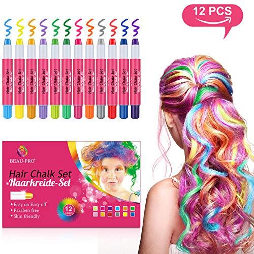 BEAU-PRO Haarkreide für Kinder Auswaschbar und ungiftige 12 Farben Temporäre Hair Chalk Set für Mädchen, Instant Haarfärbekreide Perfekt für...