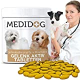 Medidog Gelenk Aktiv Gelenktabletten für Hunde 185 Tabletten mehr Bewegungsfreude und Mobilität, Grünlippmuschelextrakt, Teufelskralle, Glucosamin,...