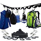 LAMURO Camping Organizer/Camping Zubehör – Aufbewahrungsband Camping Utensilien mit Karabinern