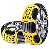 BACKTURE Snow Chains, 6pcs Anti-Slip Adjustable Chains Tire Wheel Emergency Solution for Car, Truck, SUV ...