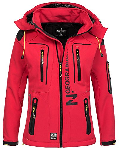 Geographical Norway Damen Softshelljacke Tassion Kapuze, Stehkragen coral/anis...