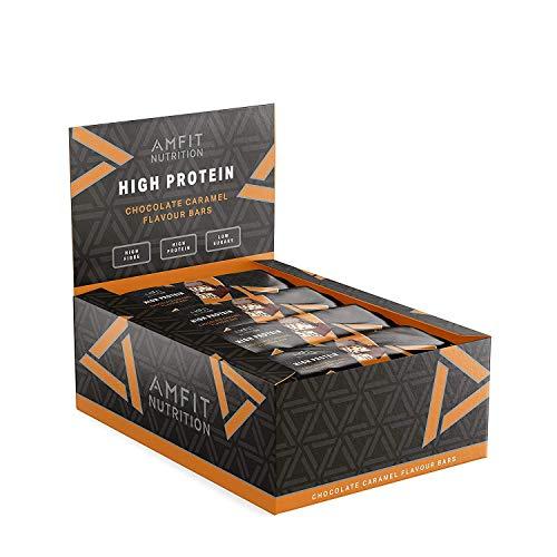 Бренд Amazon: батончик с низким содержанием сахара Amfit Nutrition (19,6 г белка - 1,6 г сахара) с шоколадно-карамельным вкусом - упаковка из 12 ...